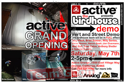 Event flyer - Active Skate Shop Demo - Orange, CA - May 7, 2005