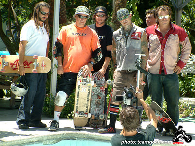 Fuel TV commercial shoot  - August 12, 2003 Tony Alva - Salba - Dave Reul - Duane Peters - Lance Mountain - Steve Olson