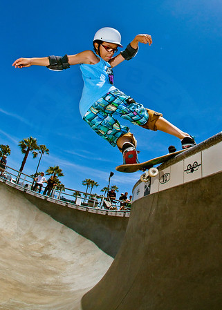 Skateboarder Julian Torres at Venice Beach Skatepark