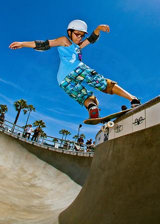 Skateboarder Julian Torres at Venice Beach Skatepark