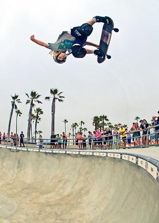 Skateboarder Desmond Shepherd at Venice Beach Skatepark