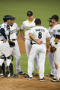 Sugar Land Skeeters Roger Clemens decides he's done for tonight.