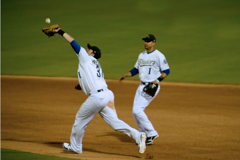 Sugar Land Skeeters Josh Pressley catches a pop-up.  Game 2