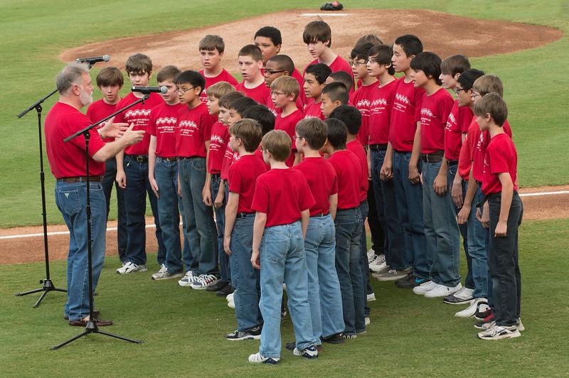 Sugar Land Skeeters Ft Bend Boys Choir sings the National Anthem. Game 2
