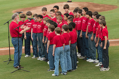Sugar Land Skeeters Ft Bend Boys Choir sings the National Anthem. Game 2