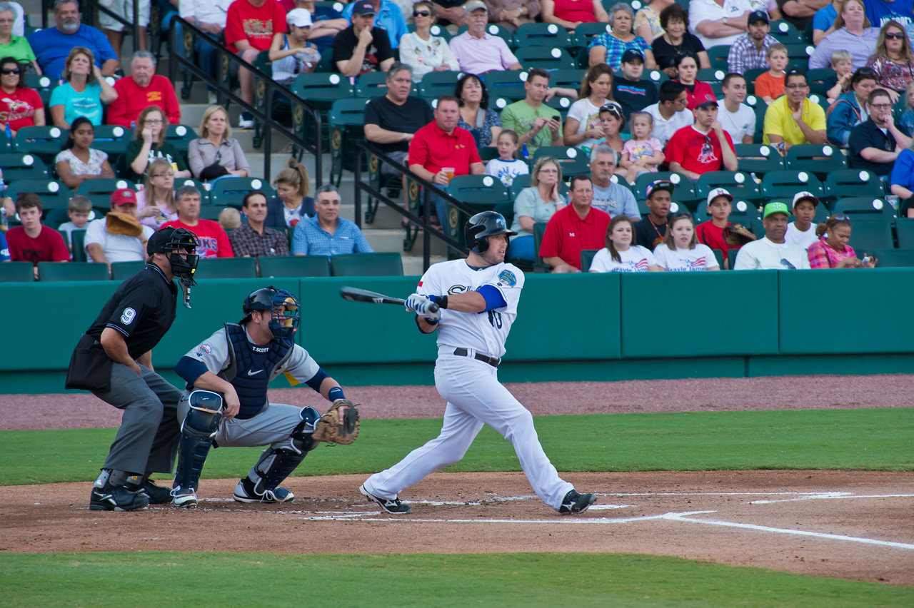 Sugar Land Skeeters Josh Pressley hits a Home Run.  Game 2