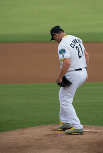 Sugar Land Skeeters Roger Clemens readies the mound.