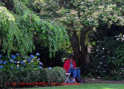 Peggy JG sketching in Parson's Garden