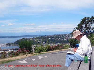 Gloria sketching the view from Marshall Park across the street