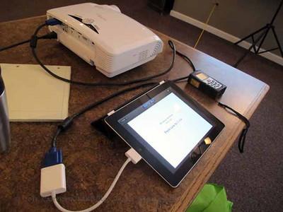 iPad set up to run the slide show