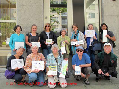 Seattle Urban Sketchers There were 13; one isn't in the picture but her sketchbook is!