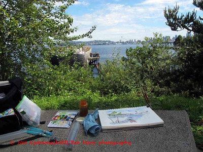 my sketch kit  note view of Seattle Space Needle in the distance