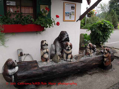 St Bernard sculptures Edelweiss Chalet