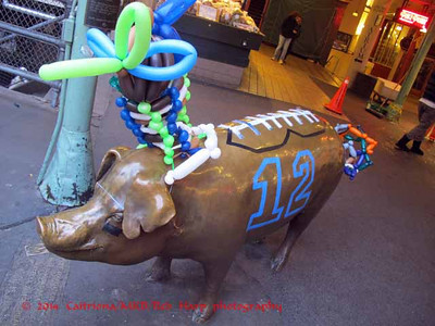 Rachel the Piggy Bank, Pike Place Market's  mascot and fundraiser, has her game face on.