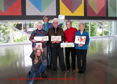 Group:  Kneeling is Julie (Seattle local daughter of visitor, Sue), Kate, Natalie, Sue (from near Stockton, CA), Peggy H, Tina  (photo taken by Sue's husband, Ray)
