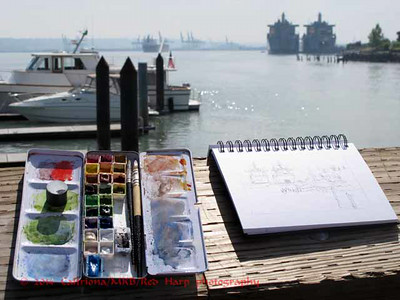 my sketch set up on the dock