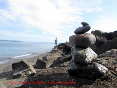 cairn on the Mukilteo beach