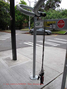 Bicycle repair station on campus
