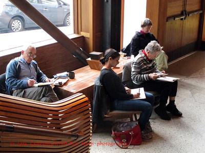 Sketchers around the coffee shop