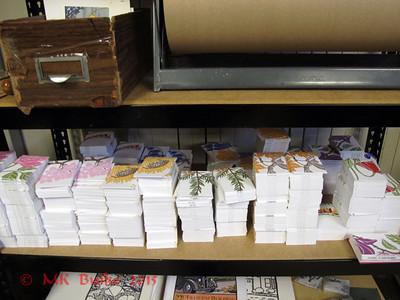 stacks of printed cards
