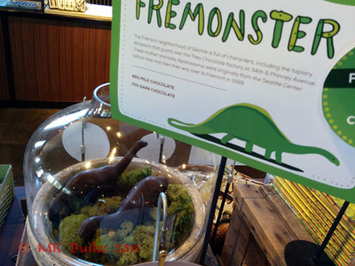 At Theo Chocolate in Fremont: Fremonster chocolate dinosaurs