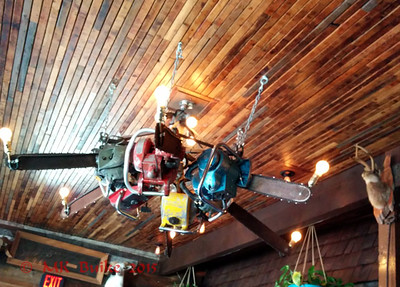 Chainsaw chandelier at Drunky's BBQ