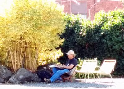 sketchers around the garden