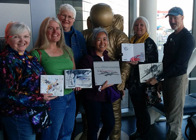 Group sketching with Don Colley (he's far right).  Me, F, Frances, Tina, Astronaut, Michele.  Missing is Chris.