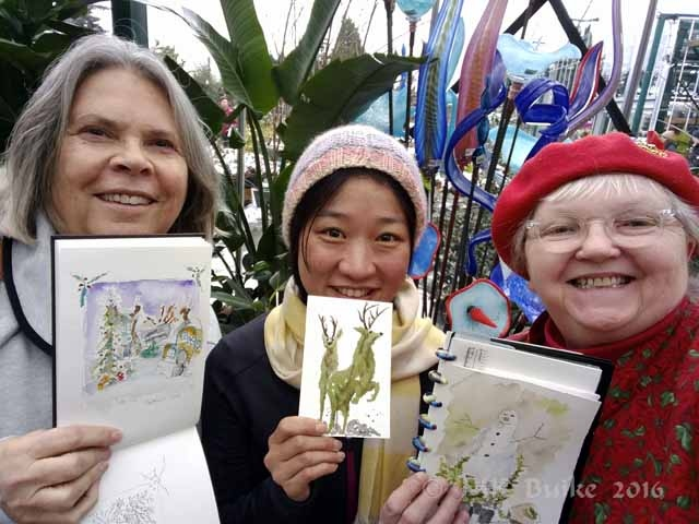 The early and hardy sketchers:  Vivian, Ching and me