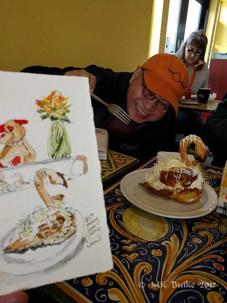 Roy is ready to help eat it after we've sketched it.
