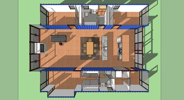 Shipping Container House, Plan Perspective