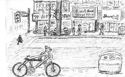 A sketch of Yonge and Wellesley, Toronto on Dec. 29th, 2014