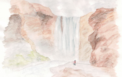Watercolour Sketch of Skogafoss in Iceland