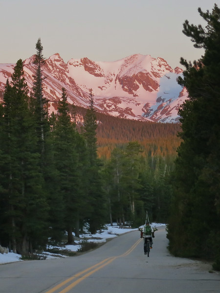 Enjoying the sunrise on the ride up to Brainard Lake. The road up to Brainard Lake hasn't opened yet, so we threw our skis and boots on our backs and biked up to the trailhead and skinned up from there.