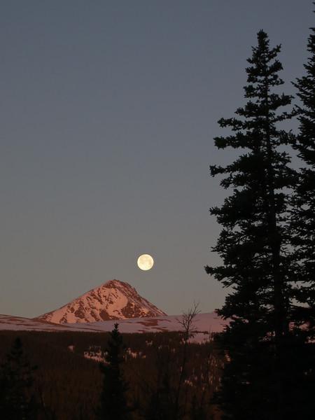 Moon + Sunrise + Mountains