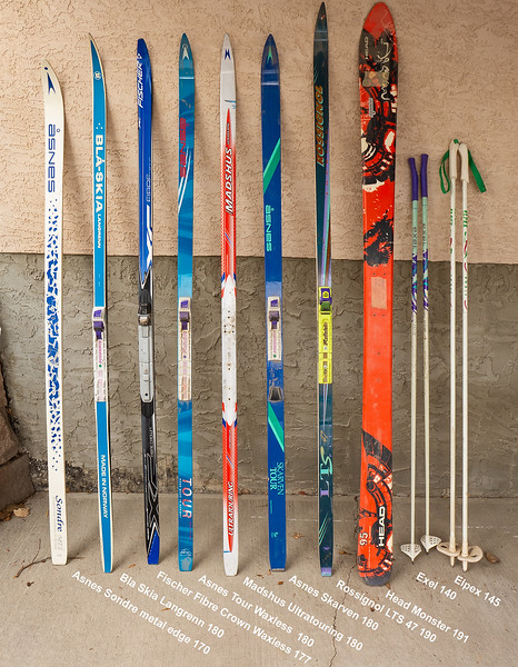 All skis wax base unless noted. Can swap bindings, or sell without for $5 less if desired.<br /> Asnes Sondre MT2. Metal edge, 64-54-57, 170 cm. Soft flex suitable for  smaller skier. Good condition. $60.<br /> Bla-Skia Langrenn 46-43-45, 180 cm. Classic track ski, very good condition. NNN II bindings. $60.<br /> Fischer Fibre Crown WAXLESS ----SOLD!<br /> Asnes Tour WAXLESS----SALE PENDING!<br /> Madshus Ultratouring 52-47-50, 180 cm. Good condition, soft camber might be suitable for smaller skier. $10.<br /> Asnes Skarven Tour 64-54-60. 180 cm Wider light touring ski. NNN II bindings. Good Condition. $60.<br /> Rossignol LTS- SOLD<br /> Head Monster 95. 131-95-120. 191 cm. Backcountry touring ski. Drilled for 7TM telemark bindings (also available!) Good shape. $40. <br /> Both pairs of poles- SOLD.