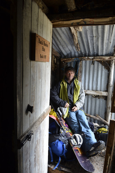 Relaxing in the old Back Basins Hut on the walk out.