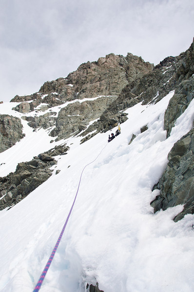 Climbing in the lower couloir