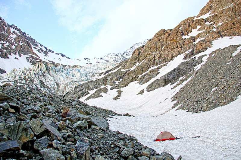 Camp below the Separation icefall