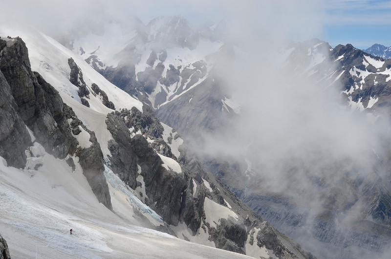 Crossing the Hayter Glacier
