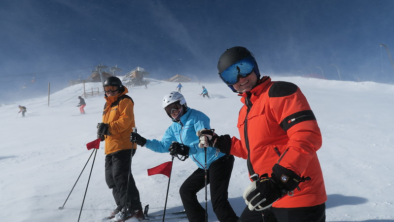 Steve, Christina & Rick enduring the high winds at Pic Blanc