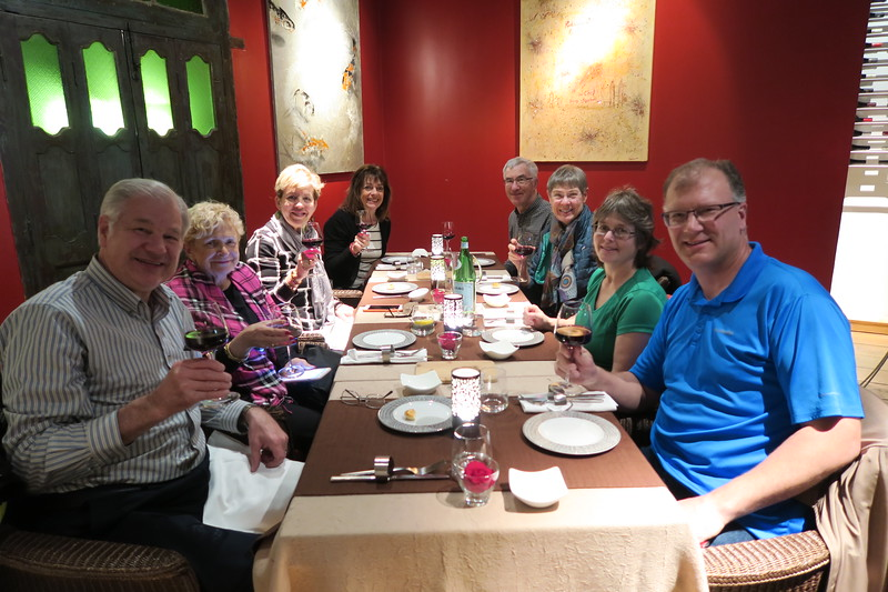 Friday dinner at The Five Senses Restaurant - Dave, Helen, Christina, Pat, Tom, Karen, Sandy & Andy