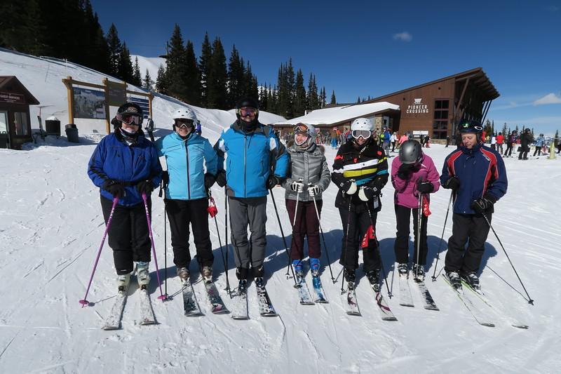 Sunday at Peak 7 - Judy & Ed Rappe (on ends; long-time PSC members; now with Richmond Ski Club); Christina, Joe, Nina, Elaine & Pat