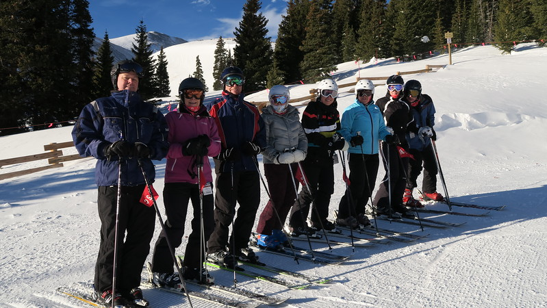"""Friday Morning """"First Tracks"""" at Breck:  Peter, Pat, Ed, Nina, Elaine, Christina, Nora & Lawrence"""