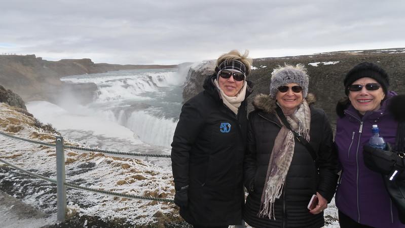 Christina, Helen & Judy at Gullfoss