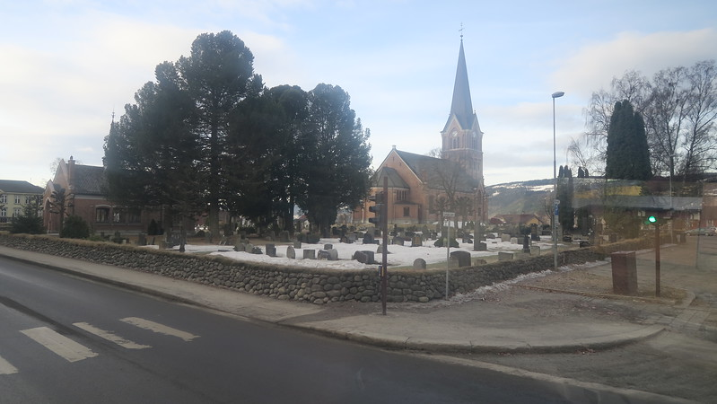 Leaving Lillehammer Friday morning - church in town