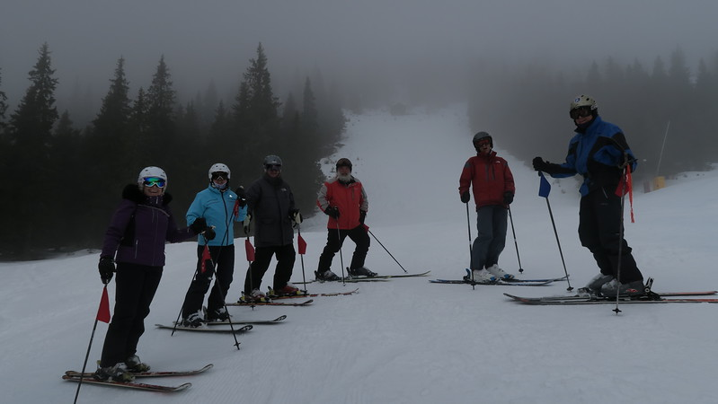 A foggy day at the lower elevations - Judy, Christina, Jerry, Loren, Erika & Townsend