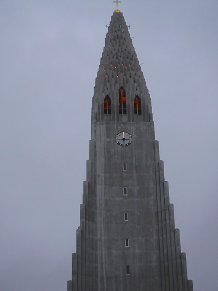 Hallgrimsskirkja Church spire lit up