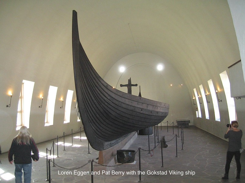 Loren Eggen and Pat Berry with the Gokstad Viking ship