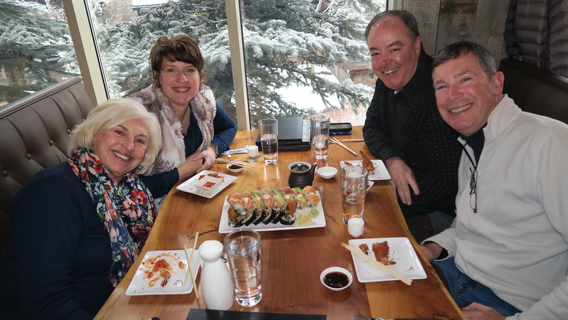 Thursday dinner at Sake Restaurant, Snowmass Base Camp - Maggie, Carrie, Greg & Chris